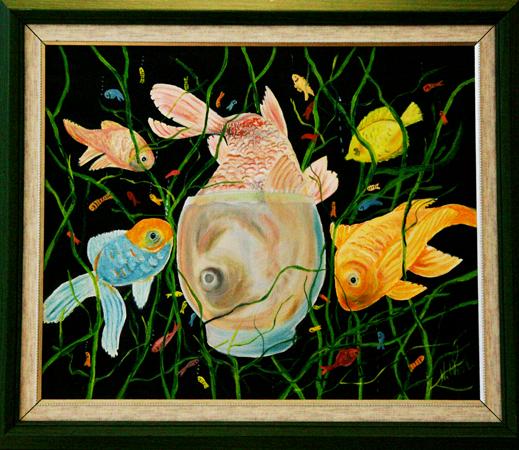 çeşitli Yağlıboya Tablo çalışmaları Esir Balıklar Adlı Tablo